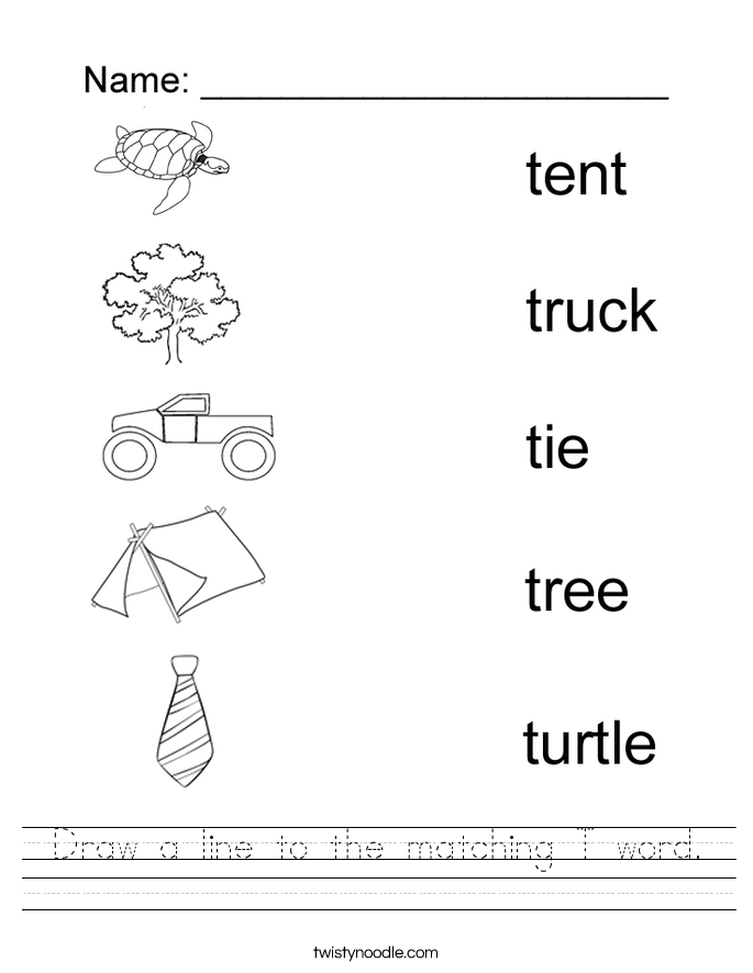 Letter T Worksheets: Letter T Worksheets   Twisty Noodle,