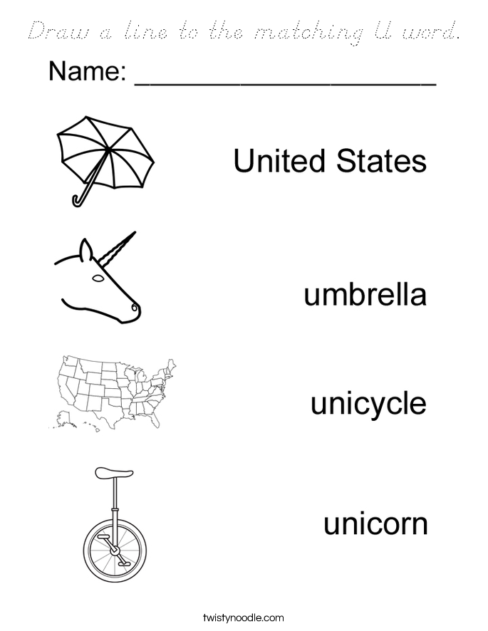 Draw a line to the matching U word. Coloring Page