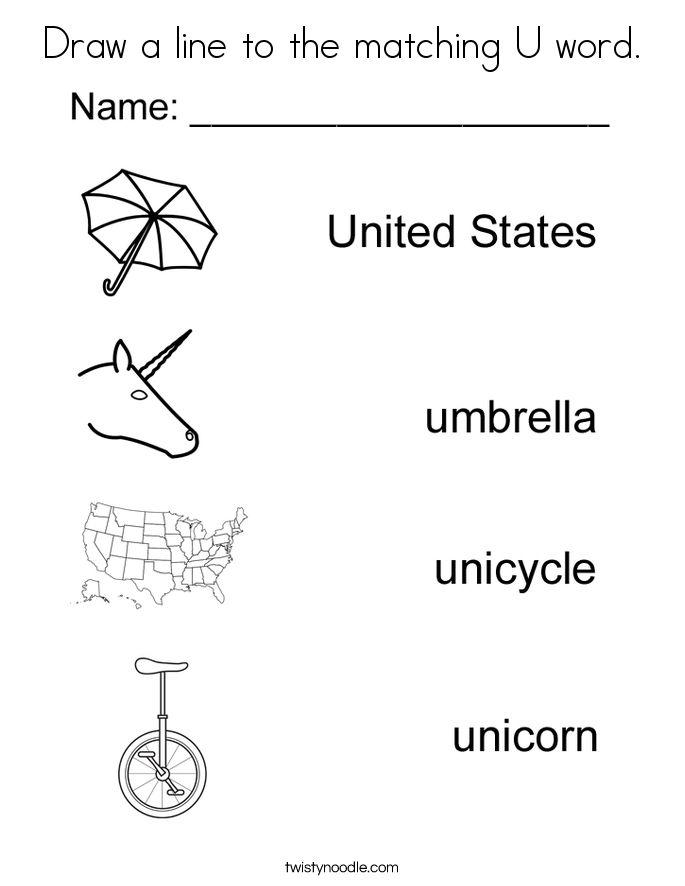 Drawing Lines With Word : U for words worksheets releaseboard free printable