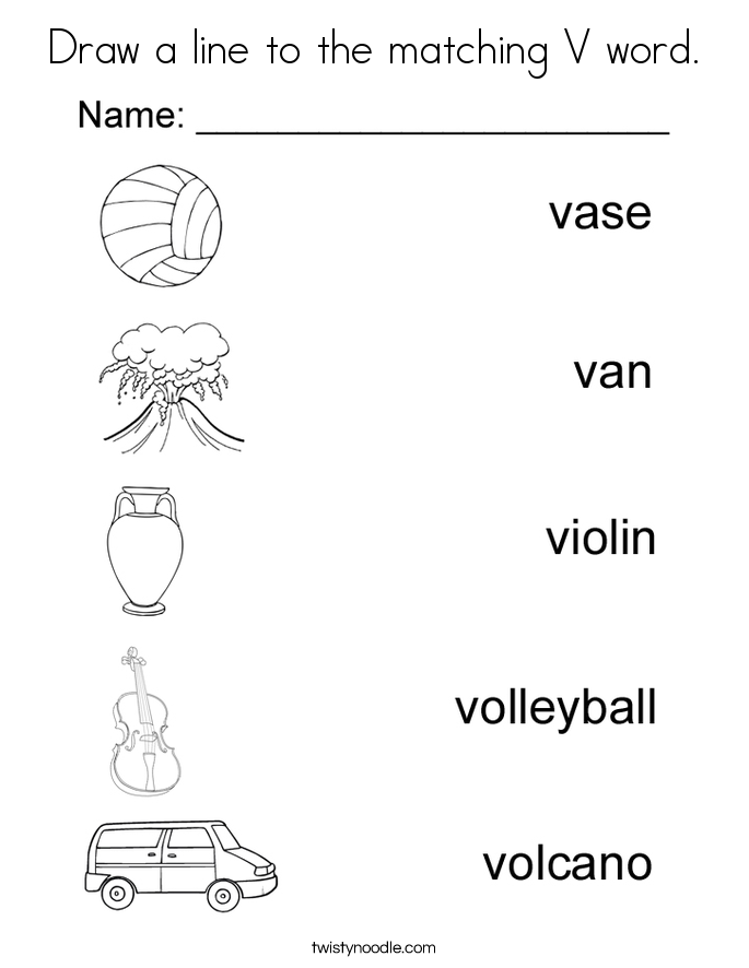 Draw a line to the matching V word. Coloring Page