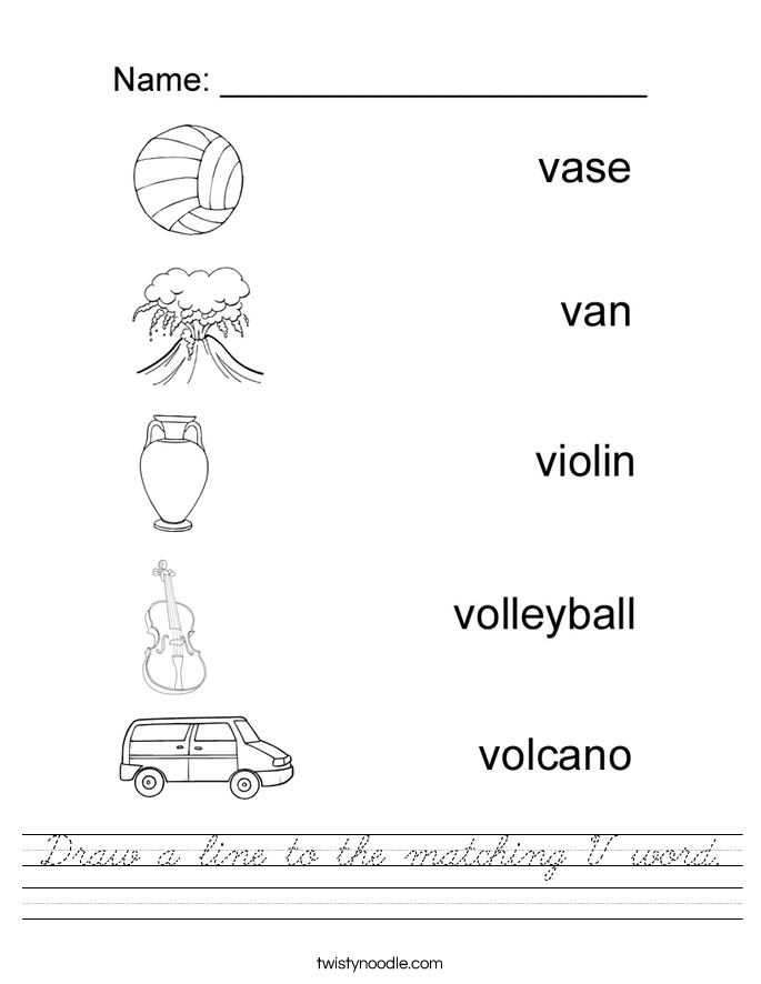 Draw a line to the matching V word. Worksheet