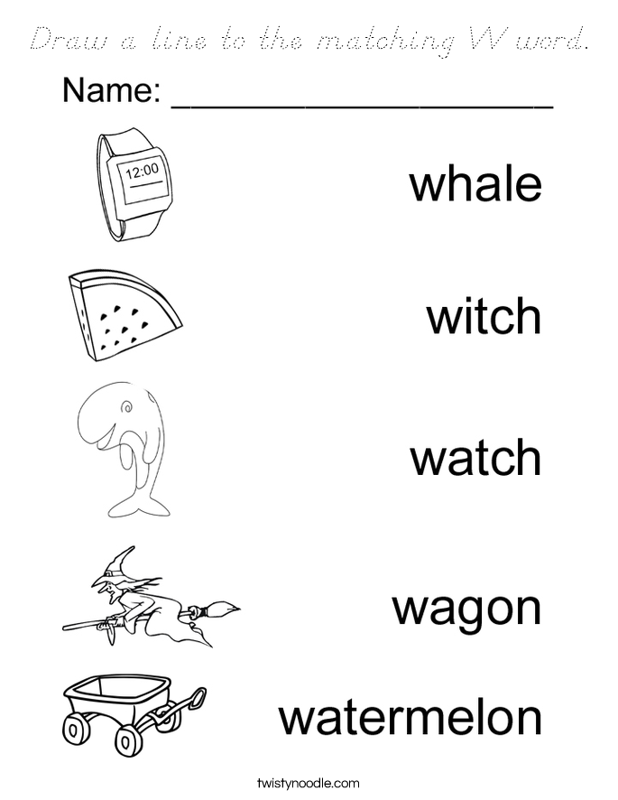 Draw a line to the matching W word. Coloring Page