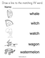 Draw a line to the matching W word Coloring Page