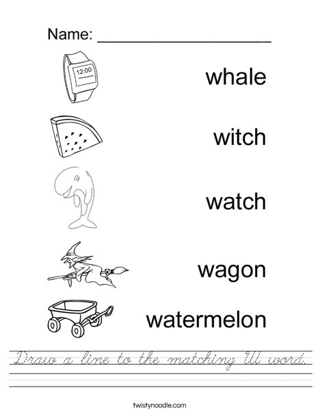 Draw a line to the matching W word. Worksheet