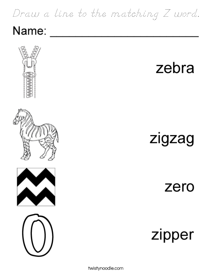 Draw a line to the matching Z word. Coloring Page