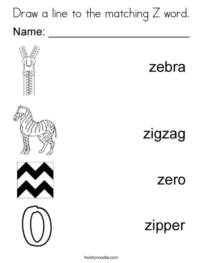 Trace The Words That Begin With The Letter Z Coloring Page Twisty