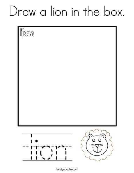 Draw a lion in the box. Coloring Page