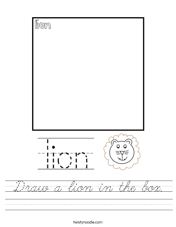 Draw a lion in the box. Worksheet