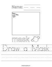 Draw a Mask Handwriting Sheet