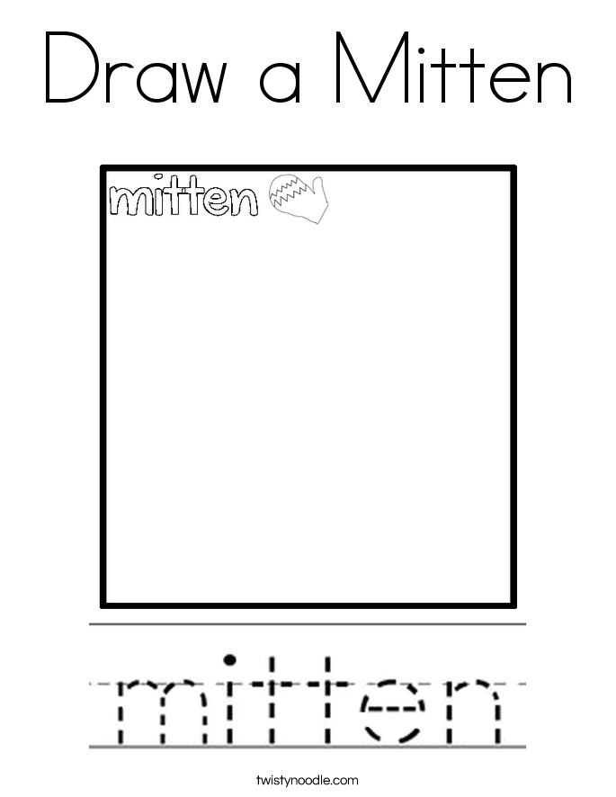 Draw a Mitten Coloring Page