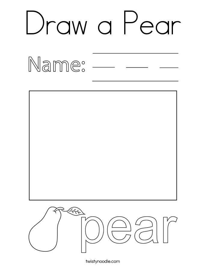 Draw a Pear Coloring Page