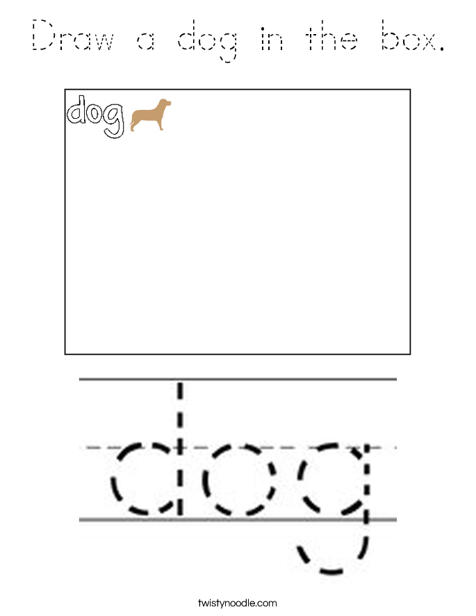 Draw a dog in the box. Coloring Page