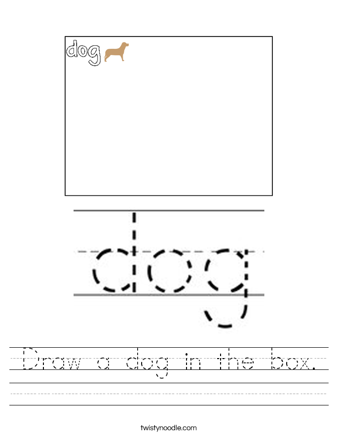 Draw a dog in the box. Worksheet