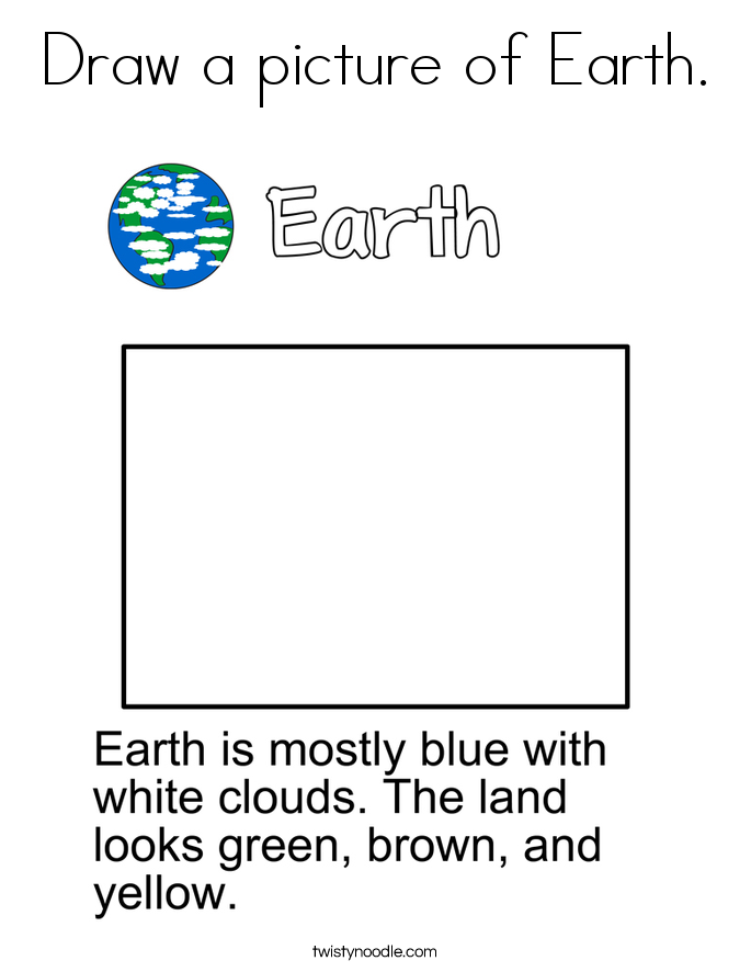 Draw a picture of Earth. Coloring Page