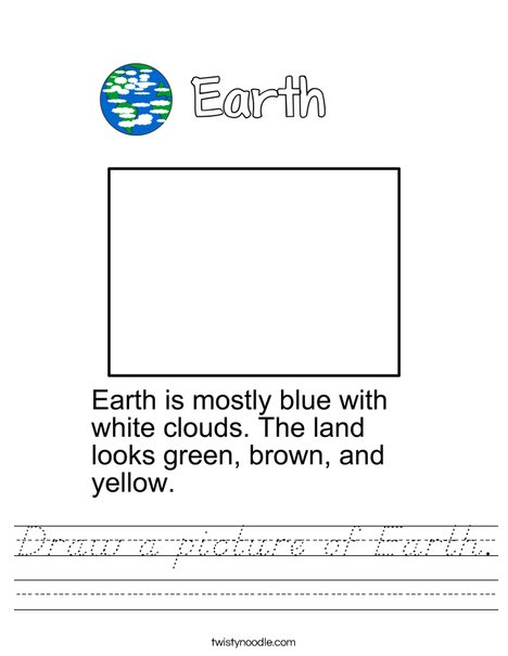 Draw a picture of Earth. Worksheet