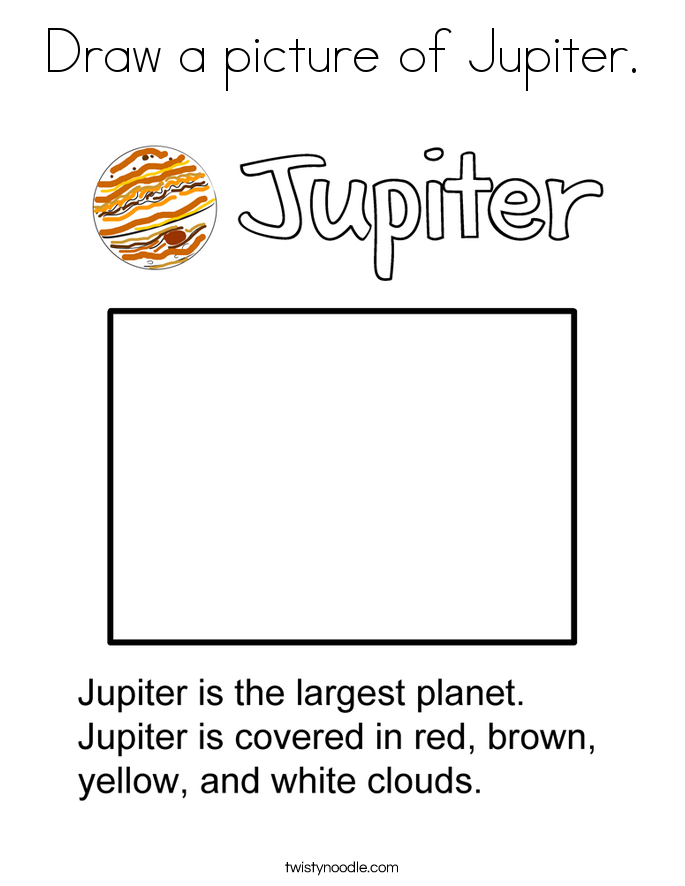 Draw a picture of Jupiter. Coloring Page