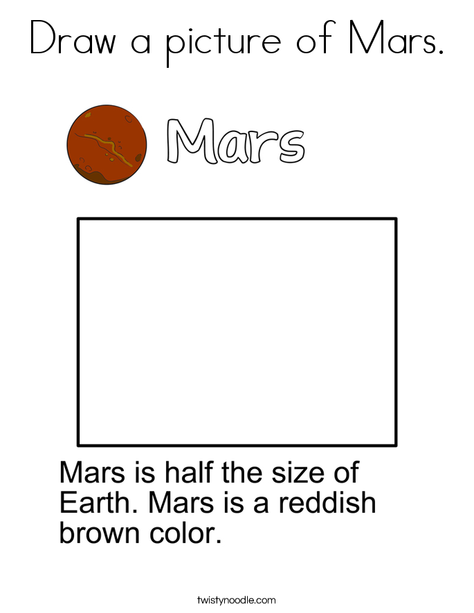 Draw a picture of Mars. Coloring Page