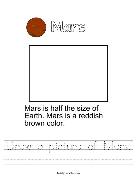 Draw a picture of Mars. Worksheet
