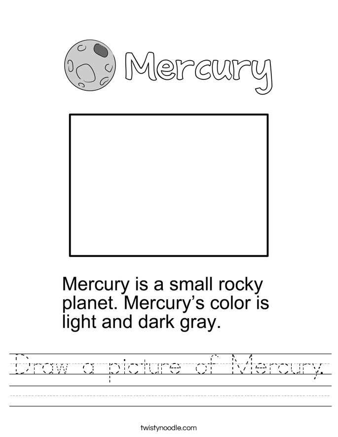 Draw a picture of Mercury. Worksheet