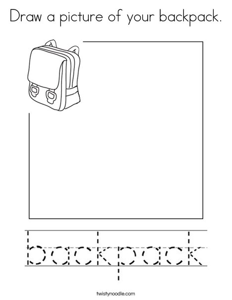 Draw a picture of your backpack. Coloring Page
