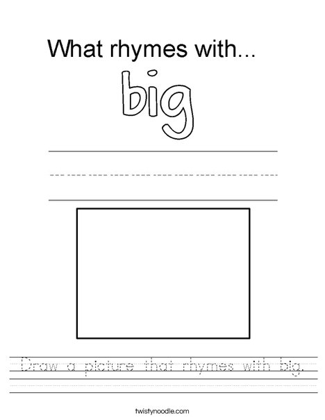 draw a picture that rhymes with big worksheet twisty noodle