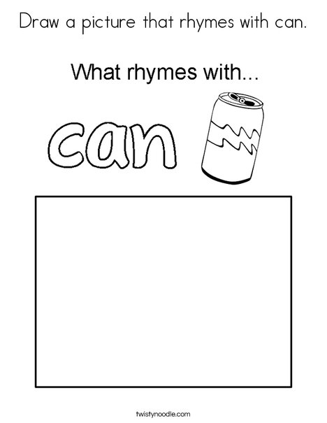 Draw a picture that rhymes with can. Coloring Page