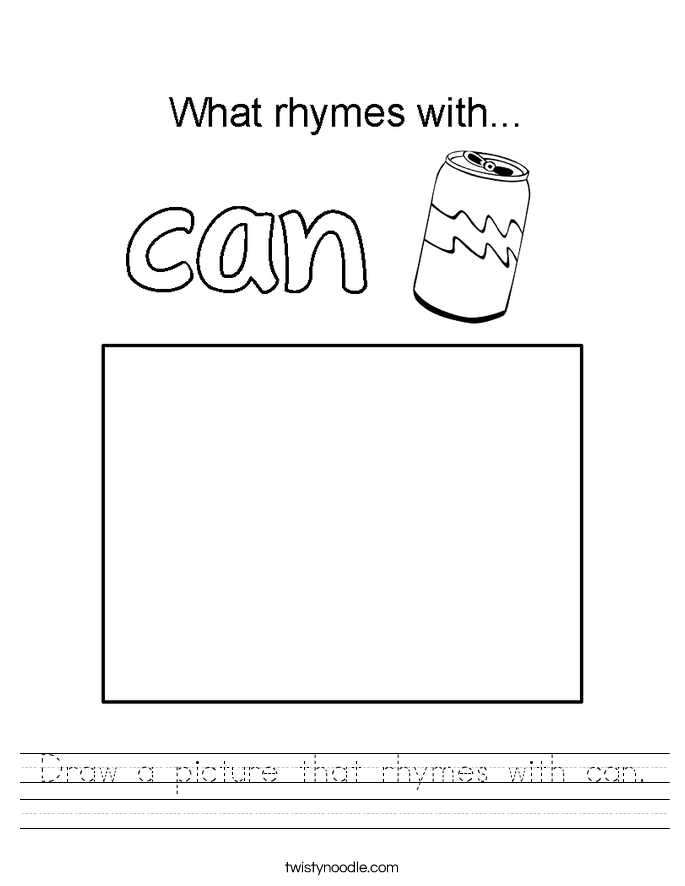Draw a picture that rhymes with can. Worksheet