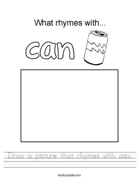 draw a picture that rhymes with can worksheet twisty noodle