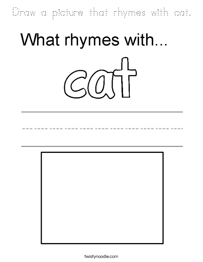 Draw a picture that rhymes with cat. Coloring Page