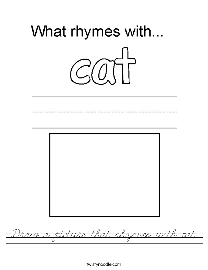 Draw a picture that rhymes with cat. Worksheet