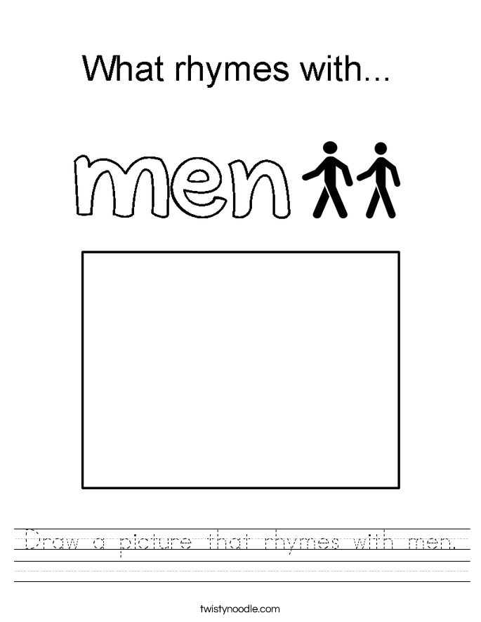 Draw a picture that rhymes with men. Worksheet
