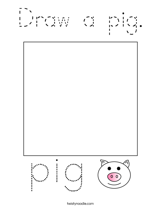 Draw a pig. Coloring Page