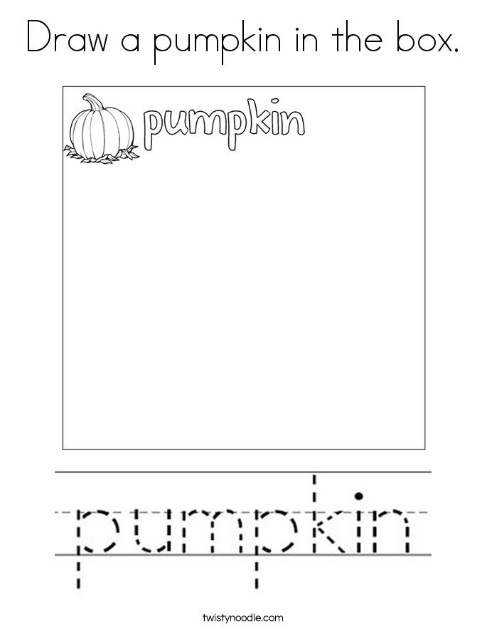 Draw a pumpkin in the box. Coloring Page