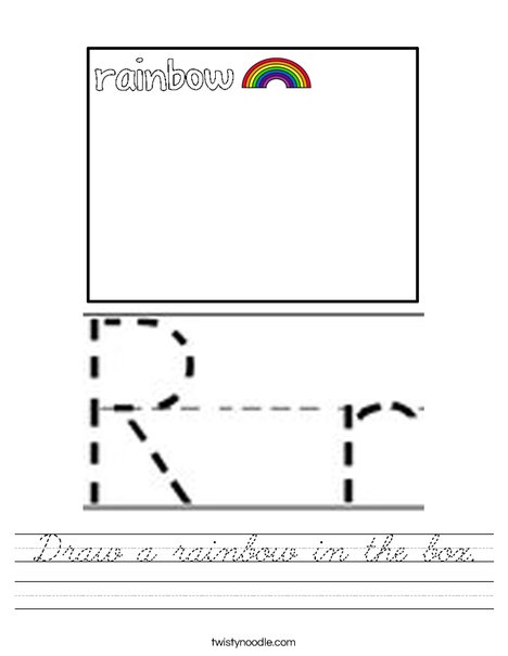 Draw a rainbow in the box. Worksheet