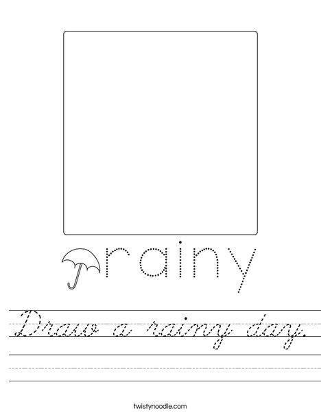 Draw a rainy day. Worksheet