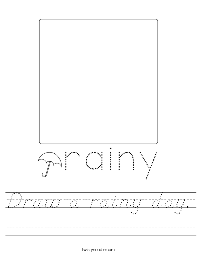 Draw a rainy day. Worksheet