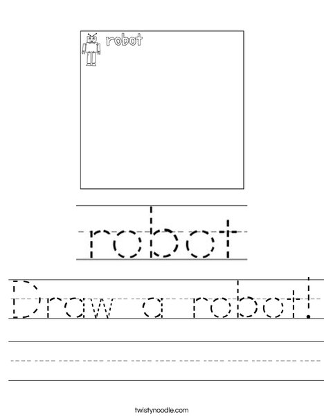 draw a robot worksheet twisty noodle. Black Bedroom Furniture Sets. Home Design Ideas