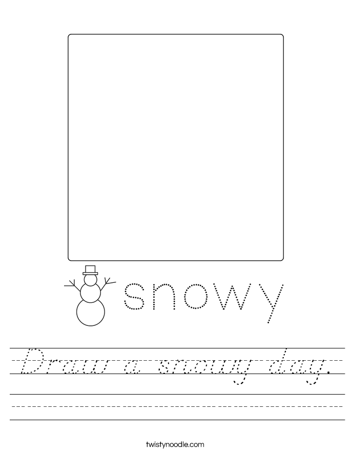 Draw a snowy day. Worksheet