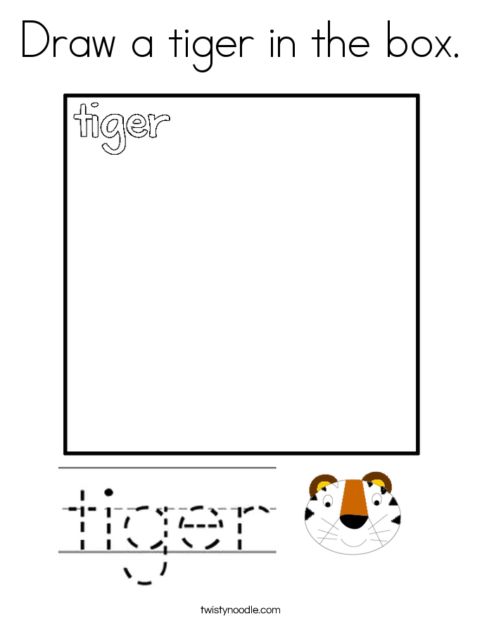 Draw a tiger in the box. Coloring Page