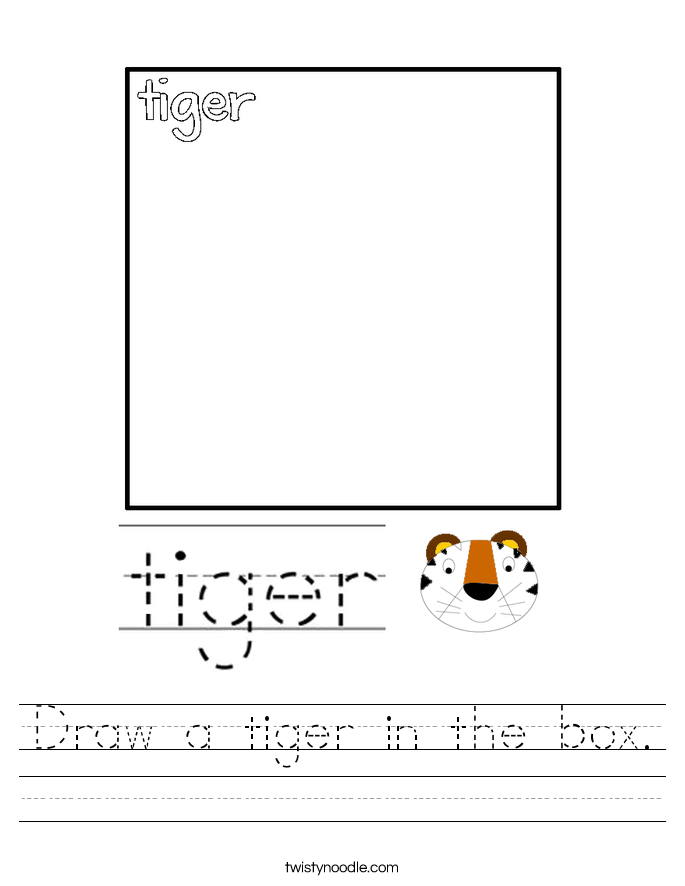 Draw a tiger in the box. Worksheet