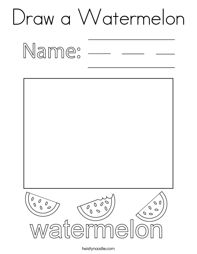 Draw a Watermelon Coloring Page
