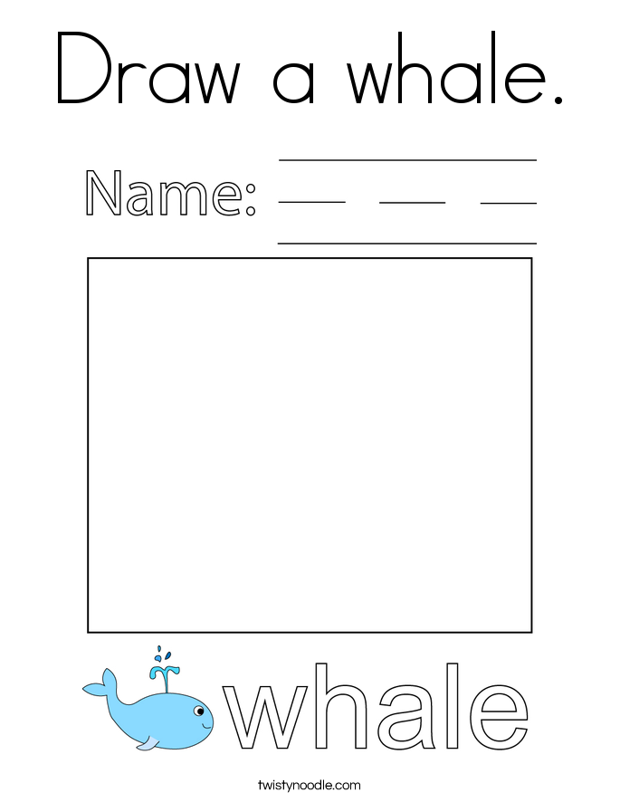 Draw a whale. Coloring Page