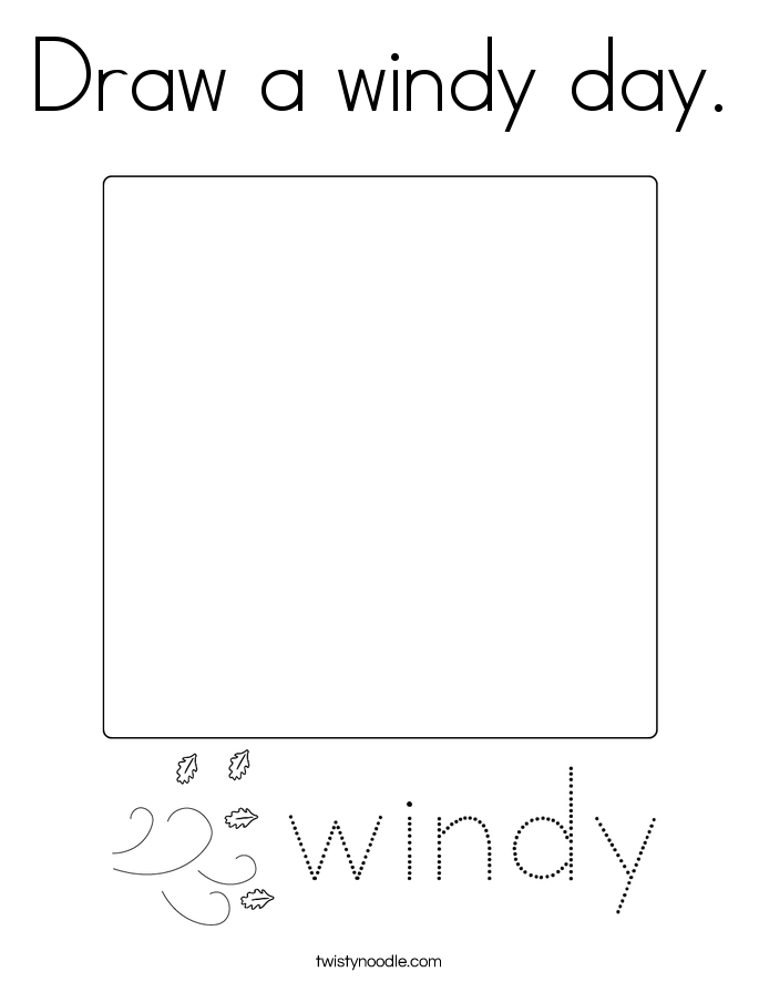 Draw a windy day. Coloring Page