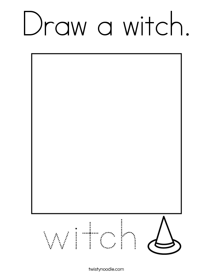 Draw a witch. Coloring Page