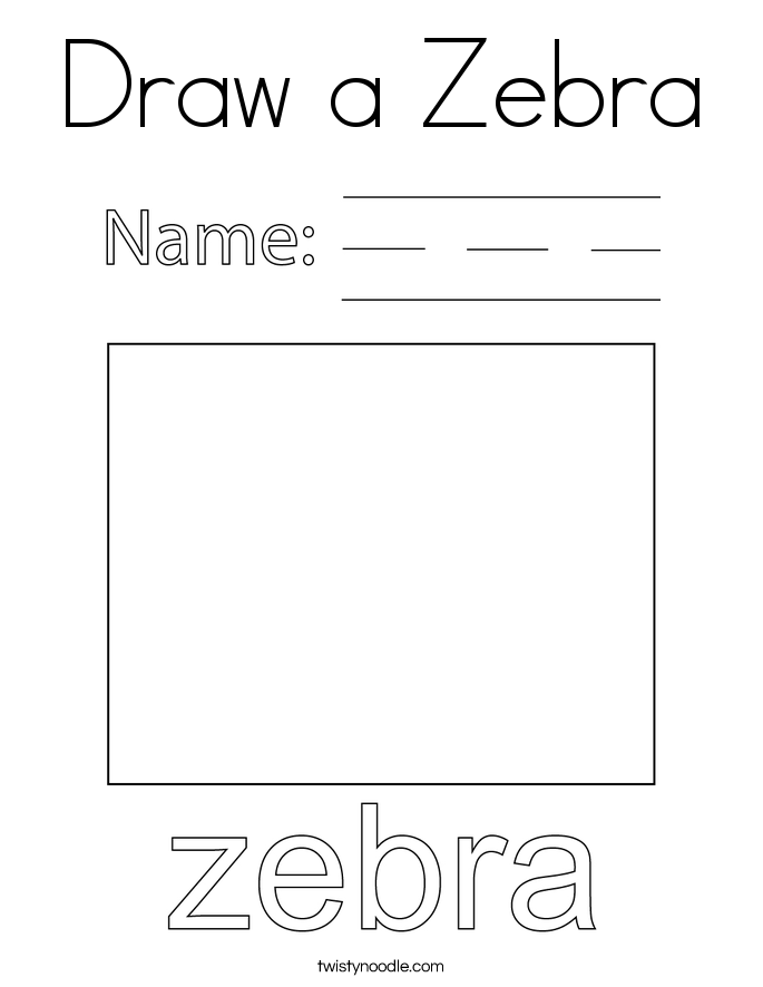 Draw a Zebra Coloring Page