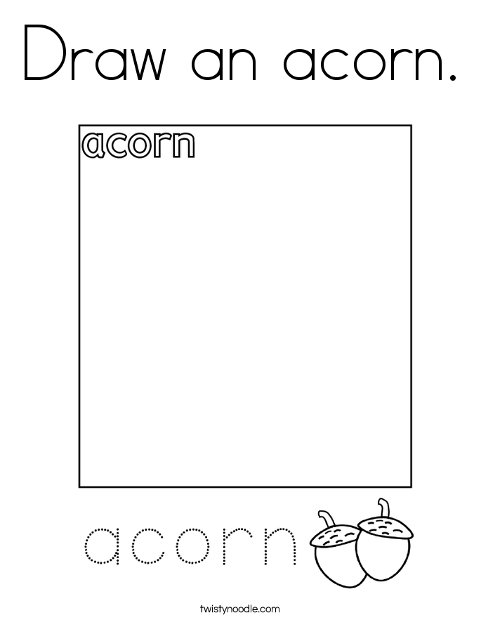 Draw an acorn. Coloring Page