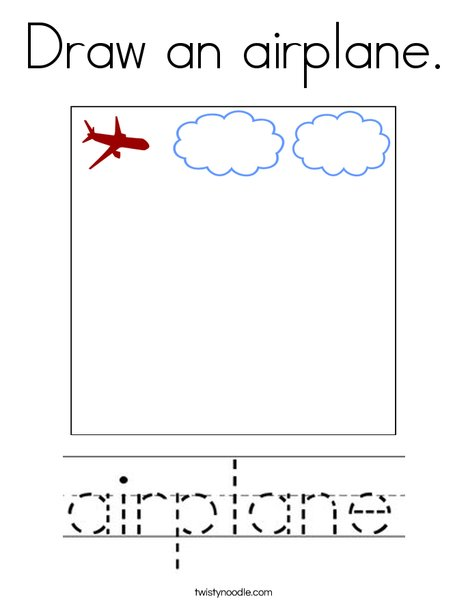 Draw an airplane. Coloring Page