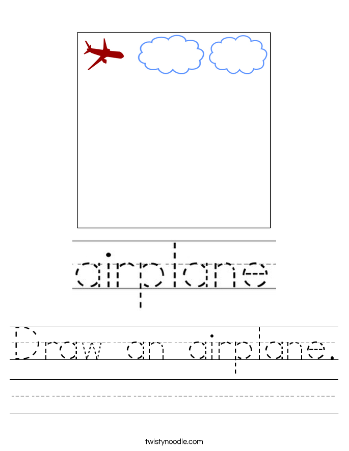 Draw an airplane. Worksheet