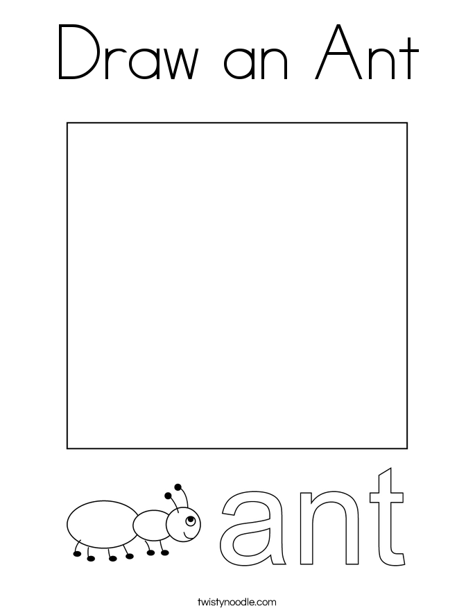 Draw an Ant Coloring Page
