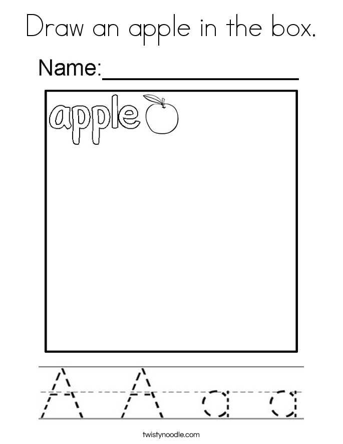 Draw an apple in the box. Coloring Page